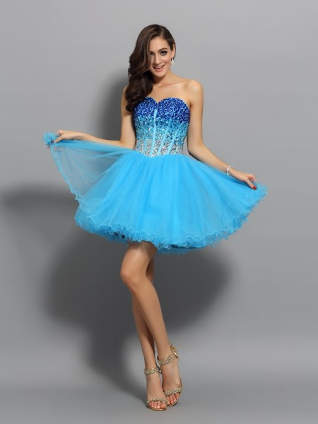 A-Line/Princess Blue Satin Short/Mini Evening Dresses with Ruffles