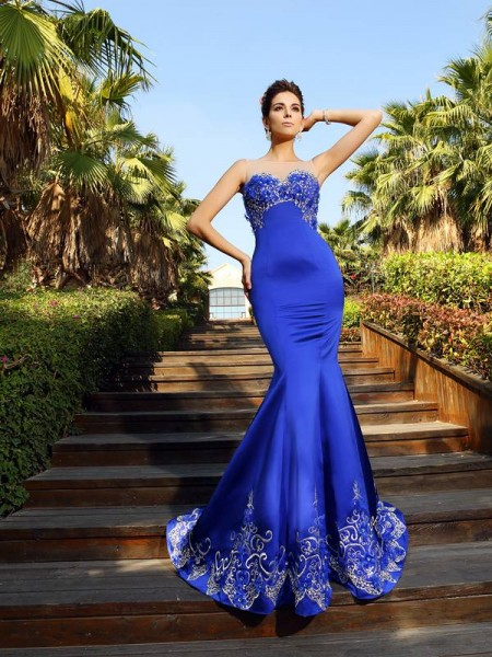 Trumpet/Mermaid Royal Blue Satin Court Train Dresses with Beading