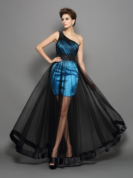 A-Line/Princess Black Elastic Woven Satin Floor-Length Dresses with Ruched