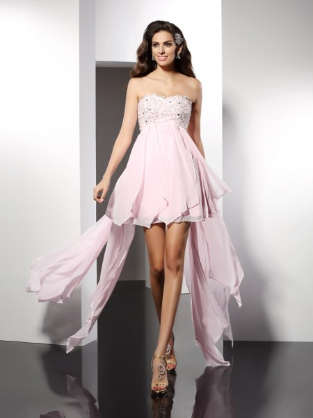 A-Line/Princess Pink Chiffon Asymmetrical Homecoming Dresses with Applique