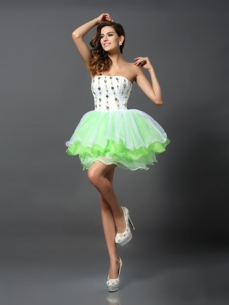 A-Line/Princess Sage Organza Short/Mini Homecoming Dresses with Ruffles