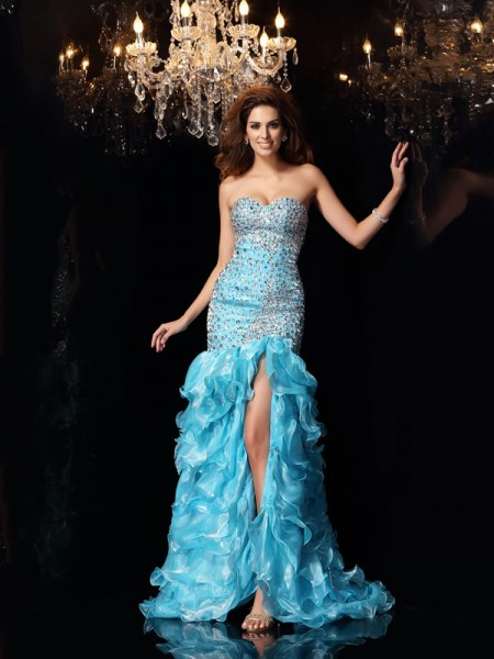Trumpet/Mermaid Blue Organza Asymmetrical Dresses with Beading