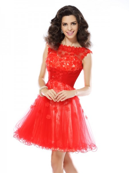 A-Line/Princess Red Elastic Woven Satin Short/Mini Homecoming Dresses with Applique