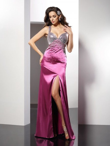 A-Line/Princess Fuchsia Elastic Woven Satin Floor-Length Evening Dresses with Beading