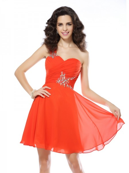 A-Line/Princess Orange Chiffon Short/Mini Homecoming Dresses with Beading