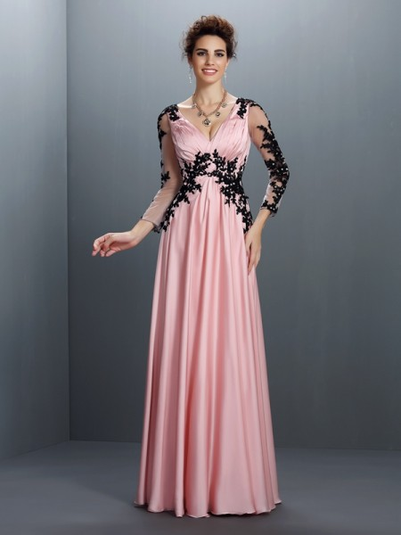 A-Line/Princess Pink Chiffon Floor-Length Evening Dresses with Applique