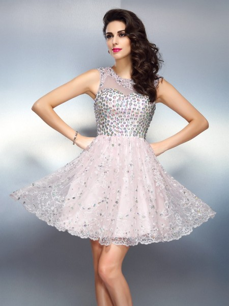 A-Line/Princess Pink Satin Short/Mini Homecoming Dresses with Beading