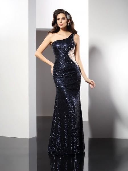 Sheath/Column Dark Navy Sequins Floor-Length Evening Dresses with Sequin
