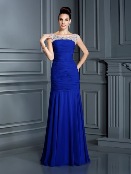 Trumpet/Mermaid Royal Blue Chiffon Floor-Length Dresses with Beading