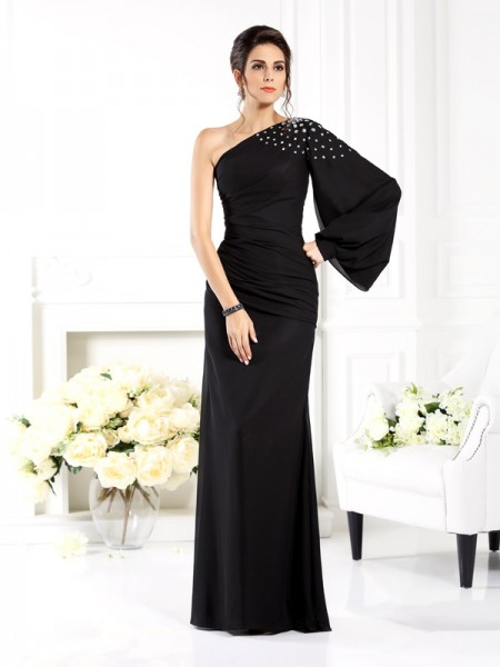 Sheath/Column Black Chiffon Floor-Length Mother Of The Bride Dresses with Beading