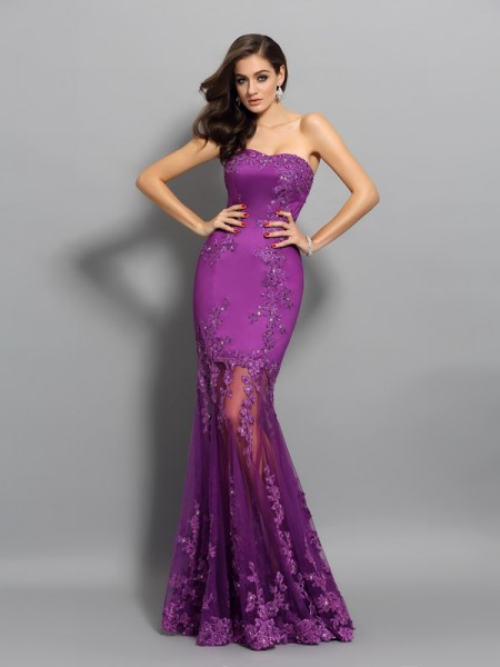 Trumpet/Mermaid Fuchsia Chiffon Floor-Length Dresses with Beading