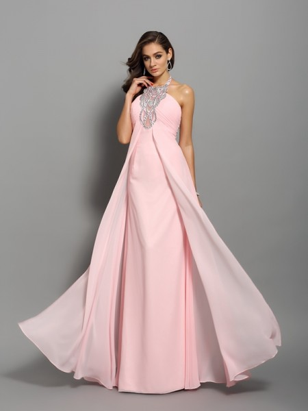 Sheath/Column Pink Chiffon Floor-Length Dresses with Beading