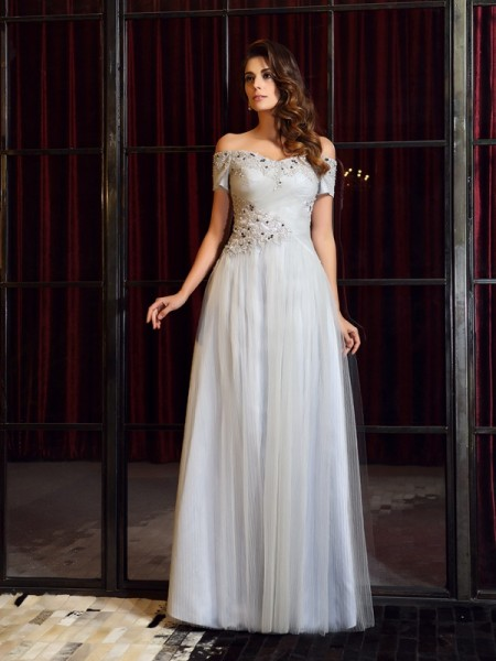 A-Line/Princess Silver Net Floor-Length Dresses with Beading