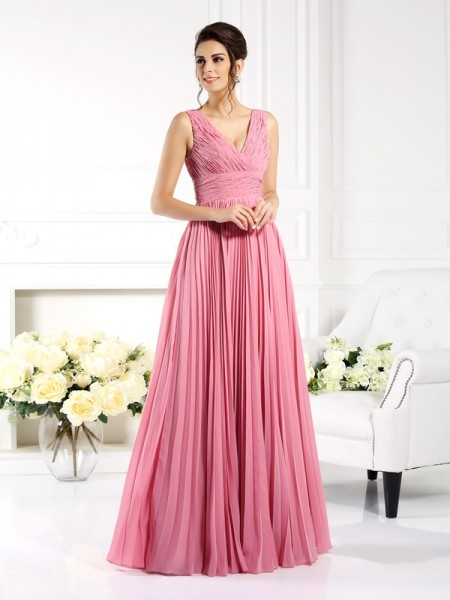A-Line/Princess Pink Chiffon Floor-Length Mother Of The Bride Dresses with Pleats