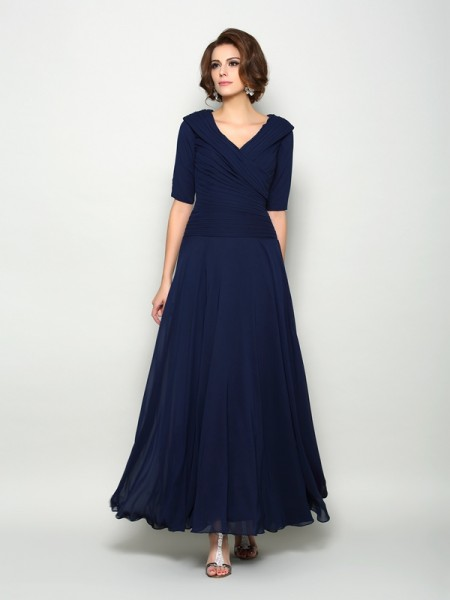 A-Line/Princess Dark Navy Chiffon Ankle-Length Mother Of The Bride Dresses with Other
