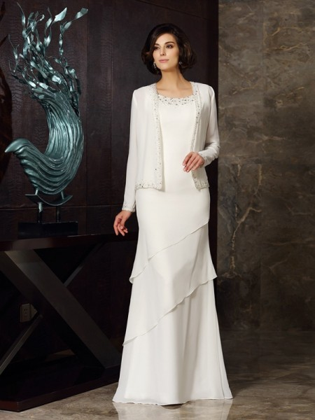 Sheath/Column Ivory Chiffon Floor-Length Mother Of The Bride Dresses with Beading