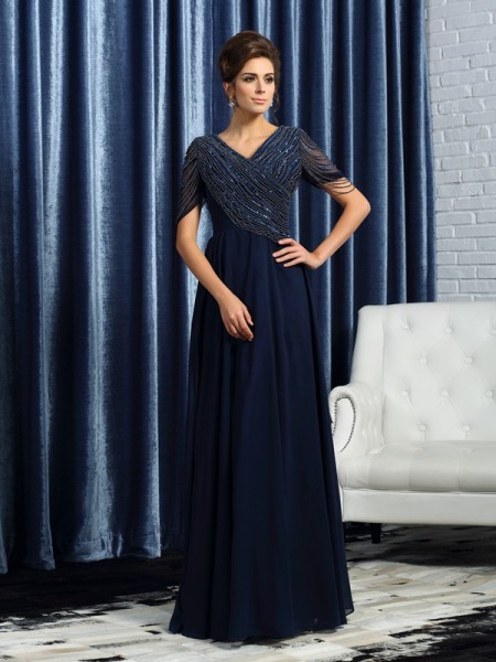 A-Line/Princess Dark Navy Chiffon Floor-Length Mother Of The Bride Dresses with Other