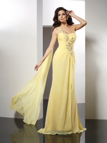 A-Line/Princess Daffodil Chiffon Floor-Length Evening Dresses with Beading