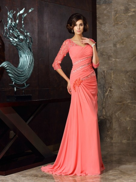 Trumpet/Mermaid Watermelon Chiffon Sweep/Brush Train Mother Of The Bride Dresses with Other