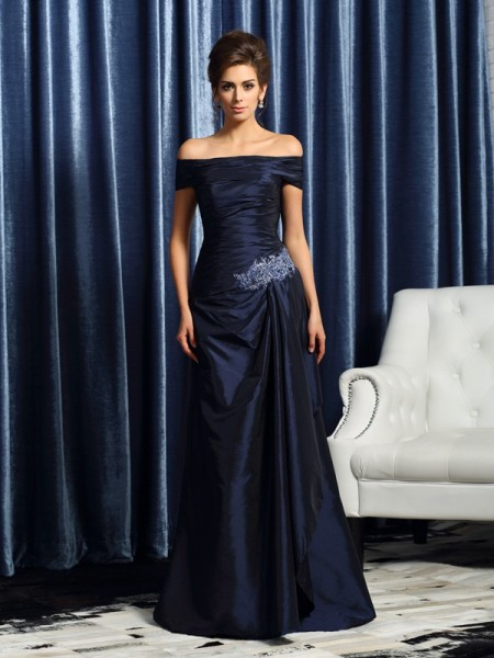 Trumpet/Mermaid Dark Navy Taffeta Sweep/Brush Train Mother Of The Bride Dresses with Other