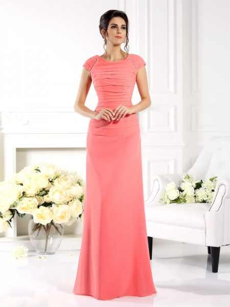 A-Line/Princess Pink Chiffon Floor-Length Mother Of The Bride Dresses with Other