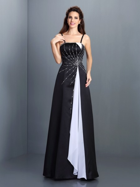 A-Line/Princess White Chiffon Floor-Length Dresses with Other