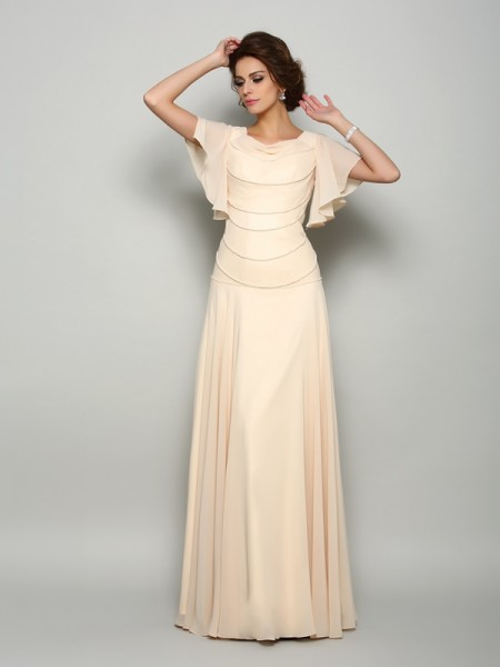 A-Line/Princess Champagne Chiffon Floor-Length Mother Of The Bride Dresses with Beading