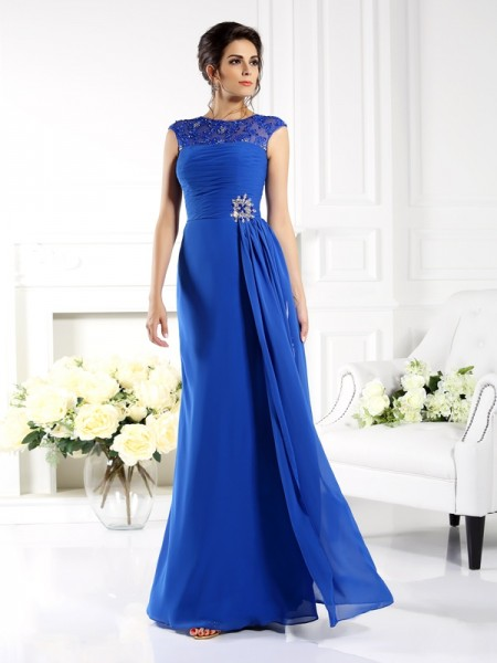 A-Line/Princess Royal Blue Chiffon Floor-Length Mother Of The Bride Dresses with Applique