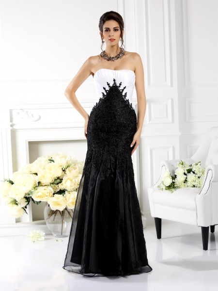 Trumpet/Mermaid Black Tulle Floor-Length Mother Of The Bride Dresses with Applique