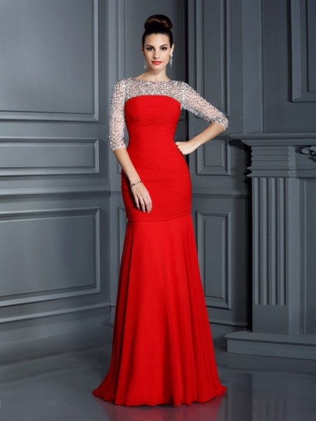 Trumpet/Mermaid Red Chiffon Floor-Length Dresses with Beading