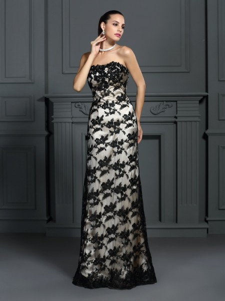 Sheath/Column Champagne Elastic Woven Satin Sweep/Brush Train Dresses with Lace
