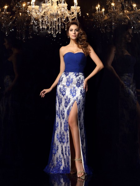 Sheath/Column Royal Blue Elastic Woven Satin Floor-Length Dresses with Lace