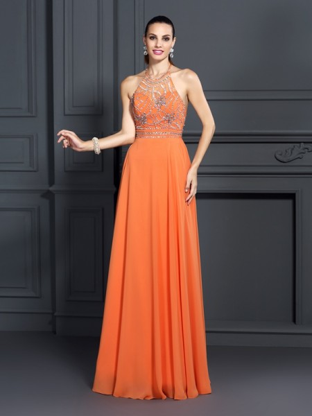A-Line/Princess Orange Chiffon Floor-Length Dresses with Beading