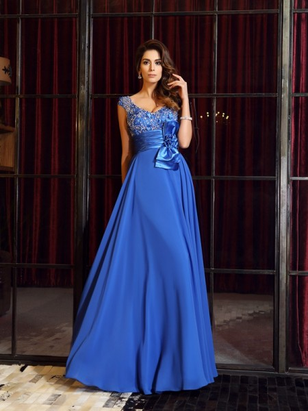 A-Line/Princess Blue Chiffon Floor-Length Dresses with Hand-Made Flower