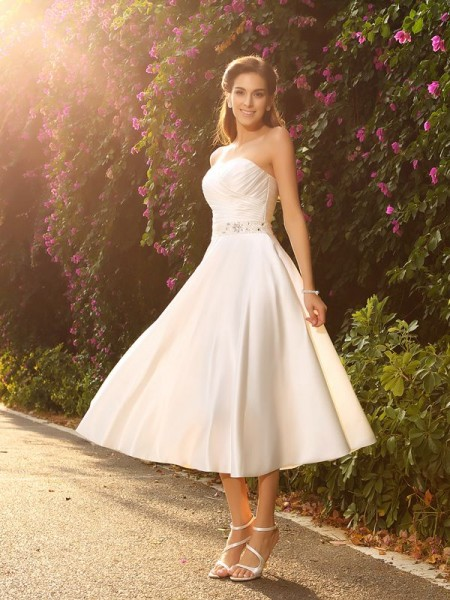 A-Line/Princess Ivory Satin Tea-Length Wedding Dresses with Beading