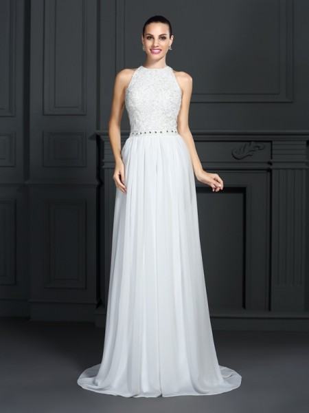 A-Line/Princess White Chiffon Sweep/Brush Train Dresses with Ruffles