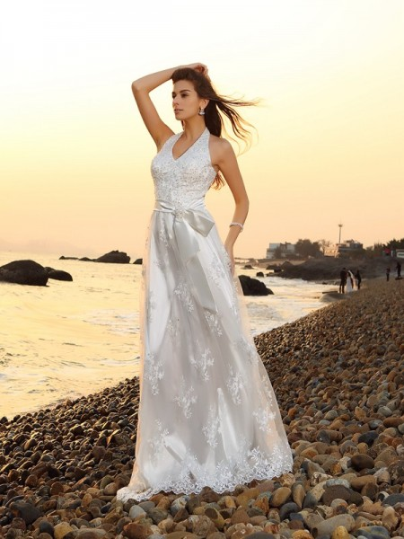 A-Line/Princess White Lace Chapel Train Wedding Dresses with Sash/Ribbon/Belt
