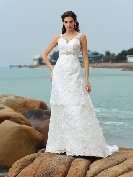 A-Line/Princess Ivory Satin Chapel Train Wedding Dresses with Applique