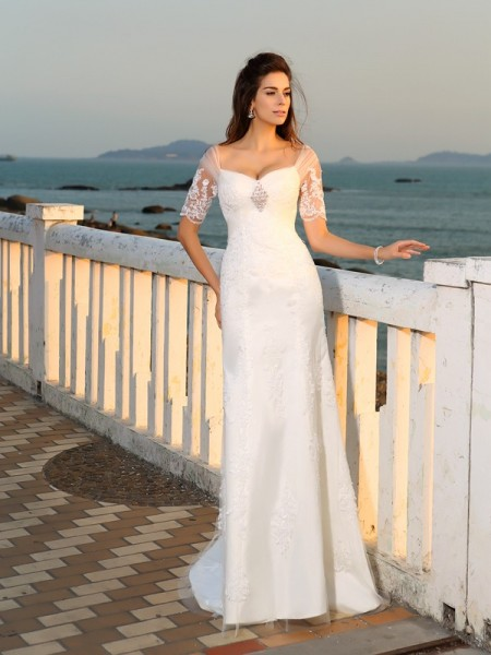 Sheath/Column Ivory Satin Floor-Length Wedding Dresses with Applique