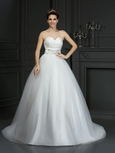 Ball Gown Ivory Net Court Train Wedding Dresses with Beading