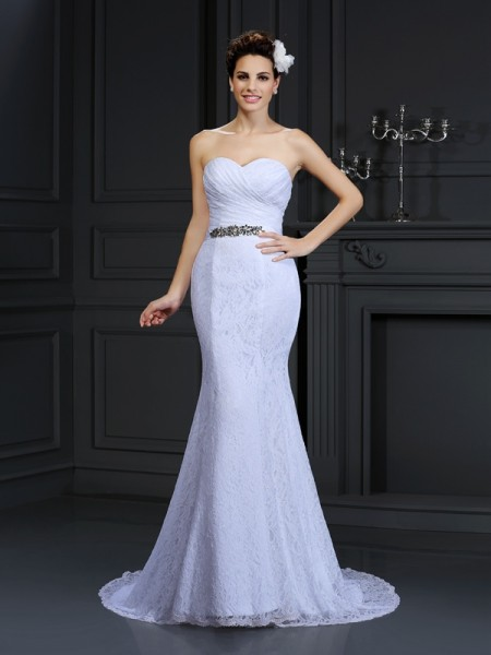Trumpet/Mermaid White Lace Chapel Train Wedding Dresses with Other