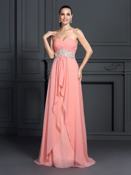 A-Line/Princess Pink Chiffon Floor-Length Dresses with Ruffles