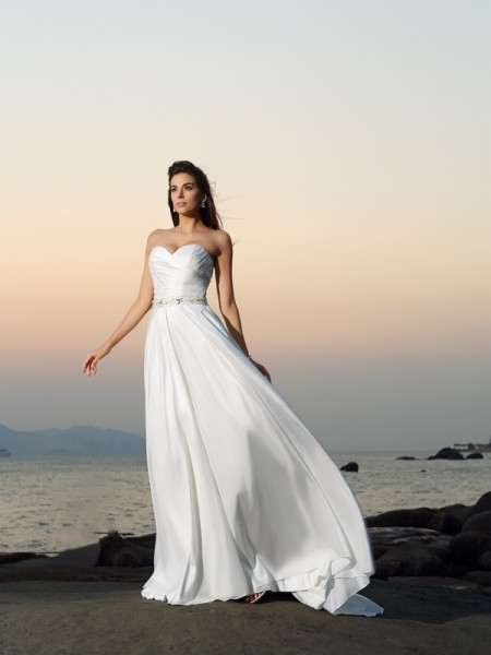A-Line/Princess Ivory Taffeta Chapel Train Wedding Dresses with Beading