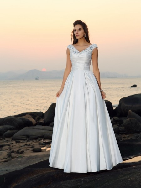 A-Line/Princess Ivory Taffeta Floor-Length Wedding Dresses with Beading