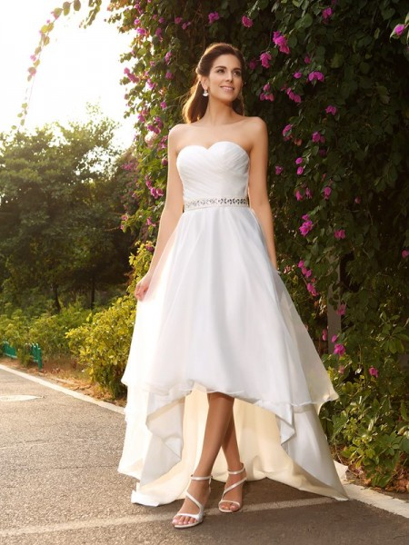 A-Line/Princess Ivory Organza Asymmetrical Wedding Dresses with Beading
