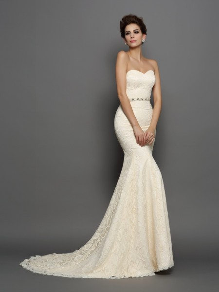 Trumpet/Mermaid Champagne Satin Chapel Train Wedding Dresses with Bowknot