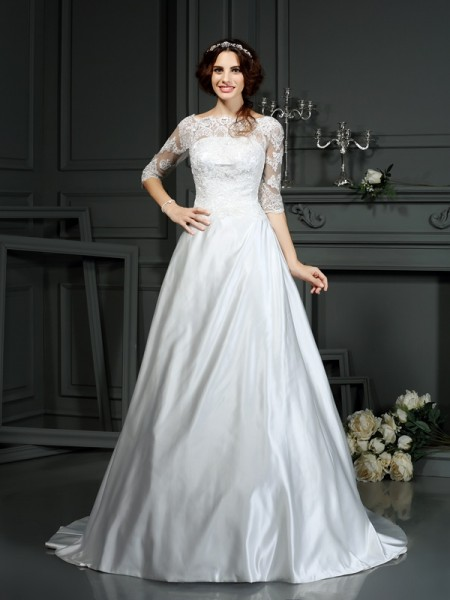 A-Line/Princess Ivory Satin Court Train Wedding Dresses with Lace