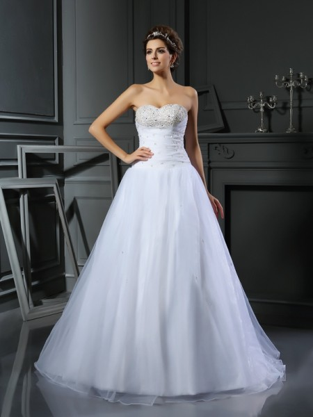 Ball Gown White Satin Court Train Wedding Dresses with Beading