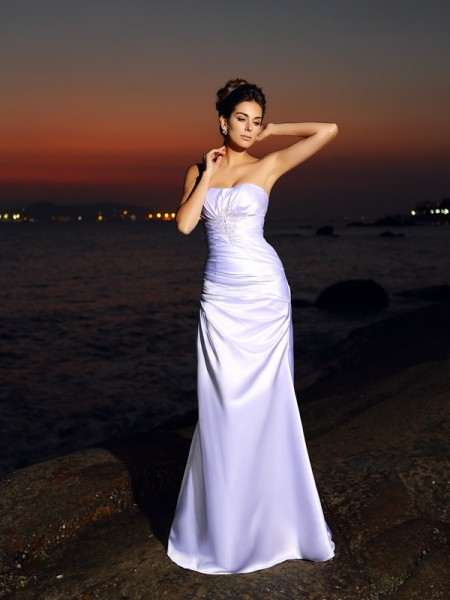 Trumpet/Mermaid White Satin Chapel Train Wedding Dresses with Other