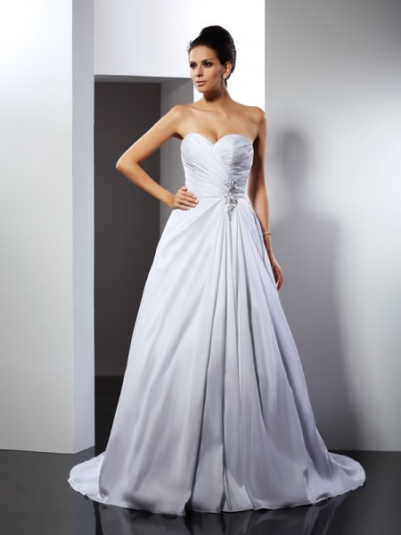 A-Line/Princess White Satin Cathedral Train Wedding Dresses with Ruffles